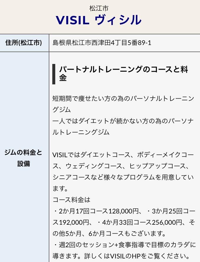 松江市のマンツーマンパーソナルトレーニングジムVISIL掲載